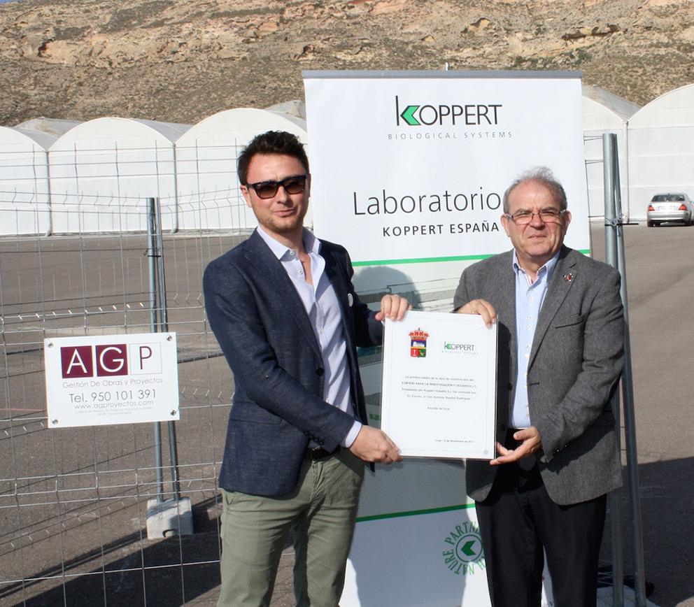 Primera piedra del futuro centro de I+D de Koppert España
