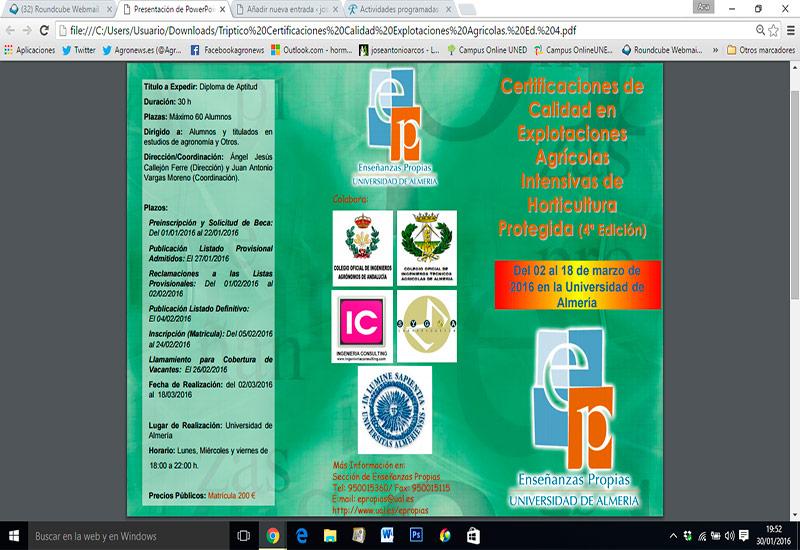 IV edición del curso de certificación de calidad en fincas agrícolas