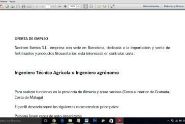 Se busca técnico agrícola o agrónomo