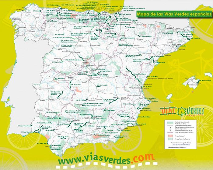 Mapa de las Vías Verdes de España (enero 2016). Foto: EFEAGRO/ Cedida por Vías Verdes de FFE