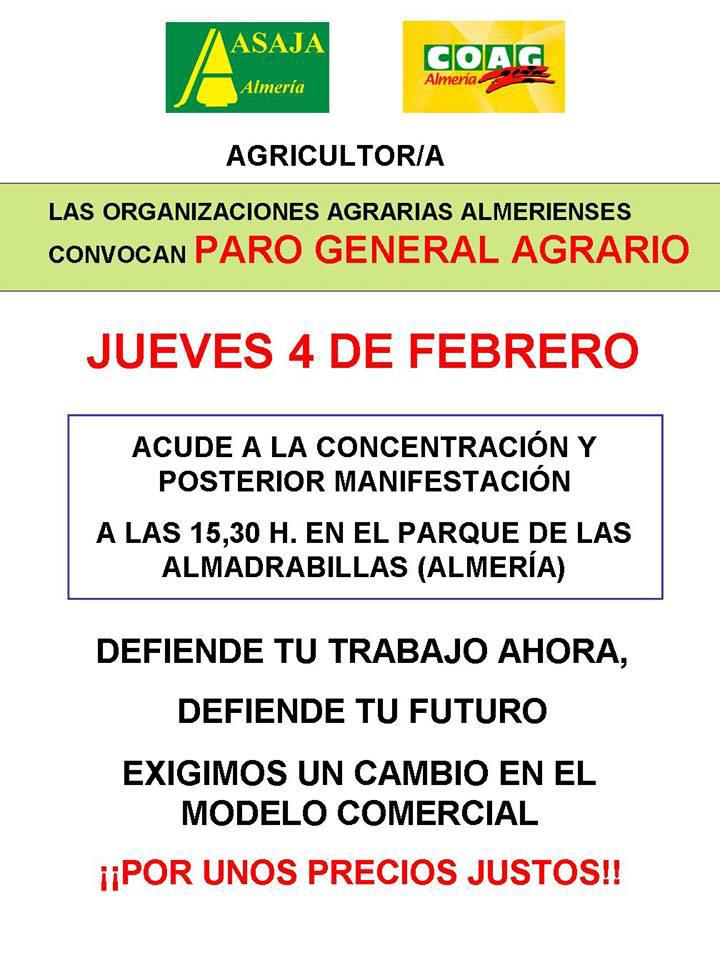 convocaroria paro agricola 4 febrero