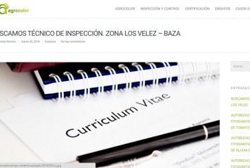 Se busca técnico de inspección. Zona Los Velez – Baza