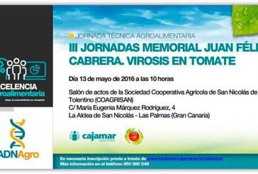 Día 13 de mayo. Jornada 'Virosis en tomate'. Las Palmas (Gran Canaria)