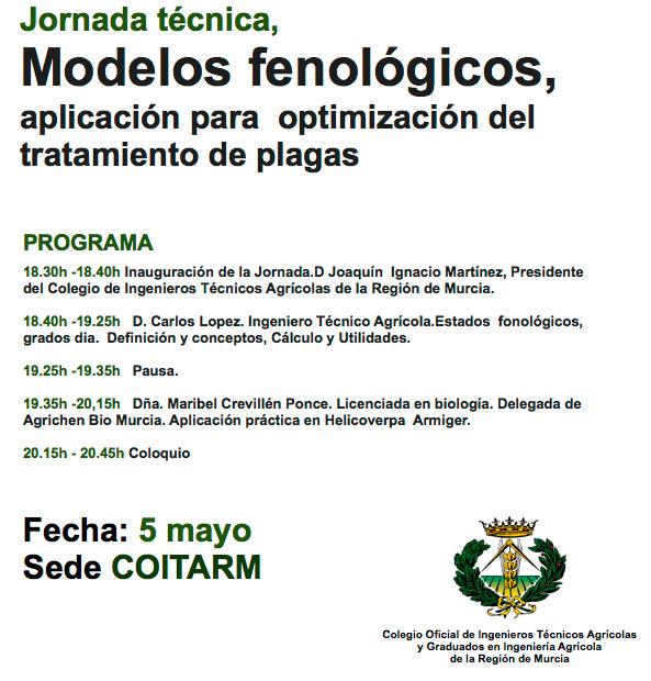 Día 5 de mayo. Jornada Modelos fenológicos. Murcia