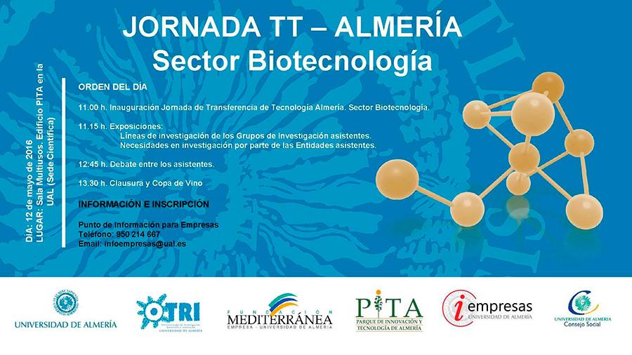Día 12 de mayo. Jornada de biotecnología en el PITA de la UAL