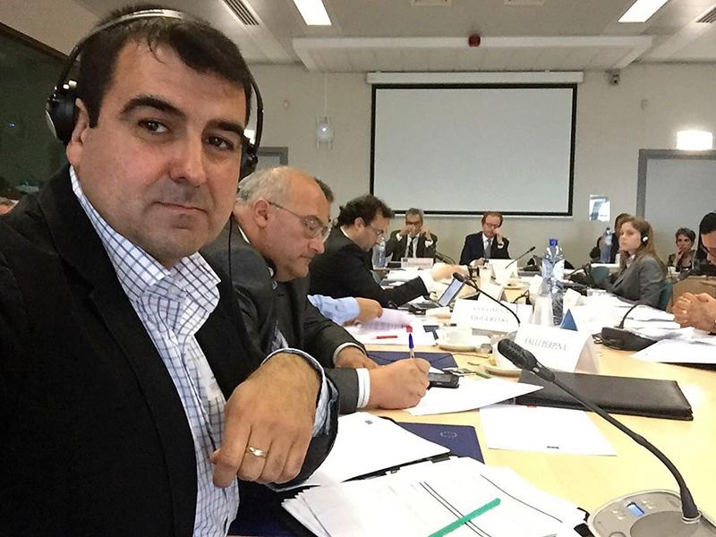 Andrés Góngora, secretario provincial de Coag-Almería, en la reunión de trabajo celebrada hoy en Bruselas.