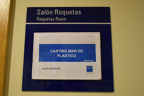 Casting de la serie Mar de plástico de Antena 3 en un hotel de la ciudad de Almería.