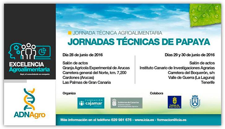 Días 28, 29 y 30 de junio. Jornadas técnicas de papaya. Canarias