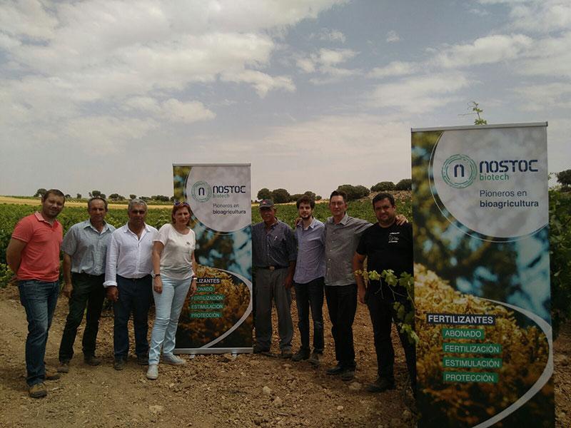 Miembros del equipo de Nostoc Biotech en cultivos al aire libre.