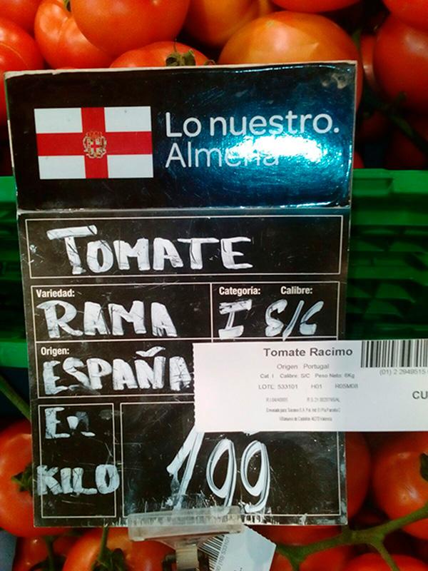 Trazabilidad. Venta de tomate de Portugal como almeriense.