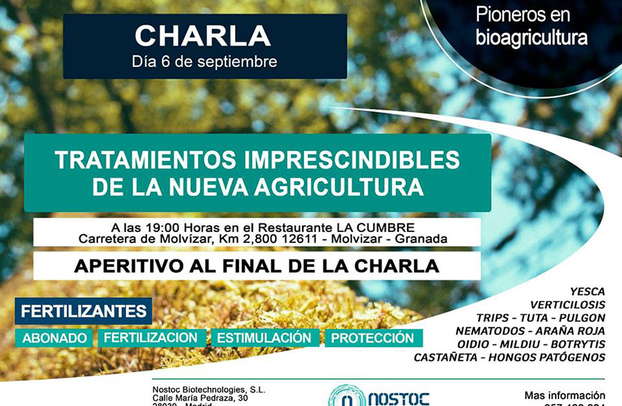 Día 6 de septiembre. Charla de Nostoc y la nueva agricultura