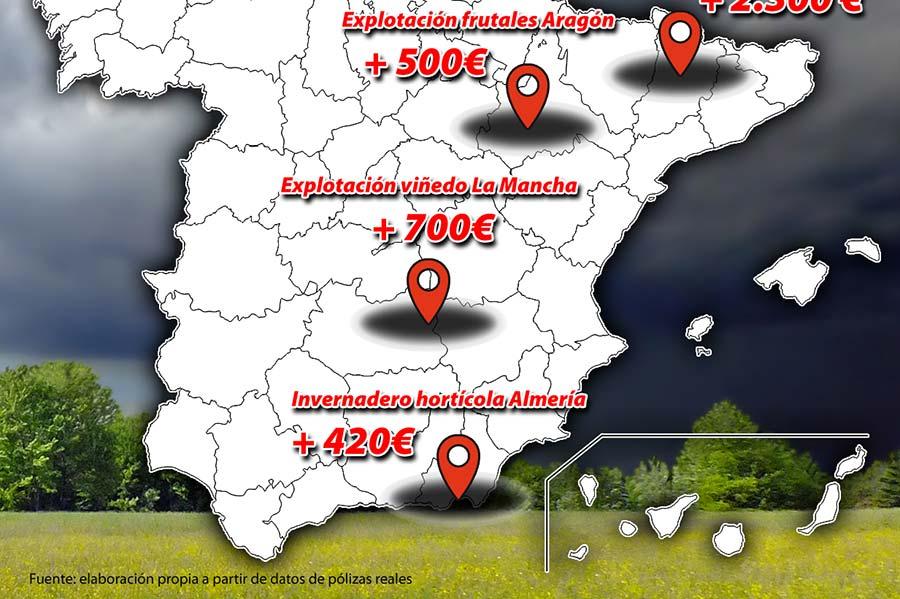 Coag dibuja el mapa de la subida de los seguros en España