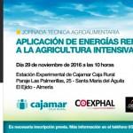 Día 29 de noviembre. Jornada  'Aplicación de energías renovables a la agricultura intensiva'. Almería