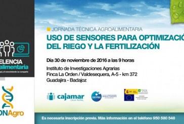 Día 30 de noviembre. Jornada 'Uso de sensores para optimización del riego y la fertilización'. Badajoz