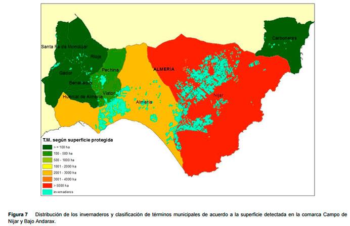 Invernaderos de Almería, La Cañada y El Alquián, y el campo de Níjar.
