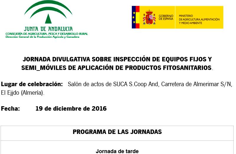Día 19 de diciembre. Jornada sobre inspección de equipos de aplicación de fitosanitarios