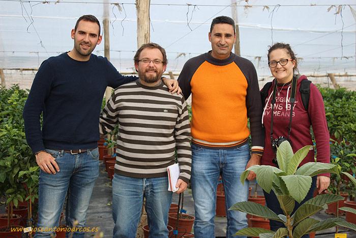Sergio Navarrete, José Antonio Arcos, Juan Miguel Rubio y Ana Rubio en Viveros Caliplant, Murcia.