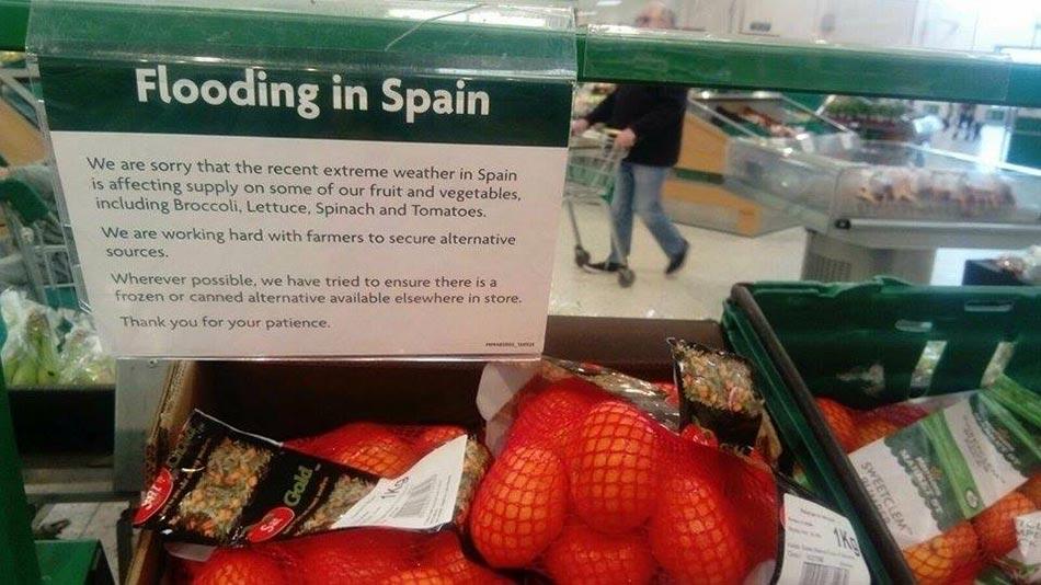 Supermercados británicos sin hortalizas por la ola de frío