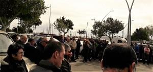 Concentración de agricultores almerienses que protestan contra los bajos precios agrícolas.