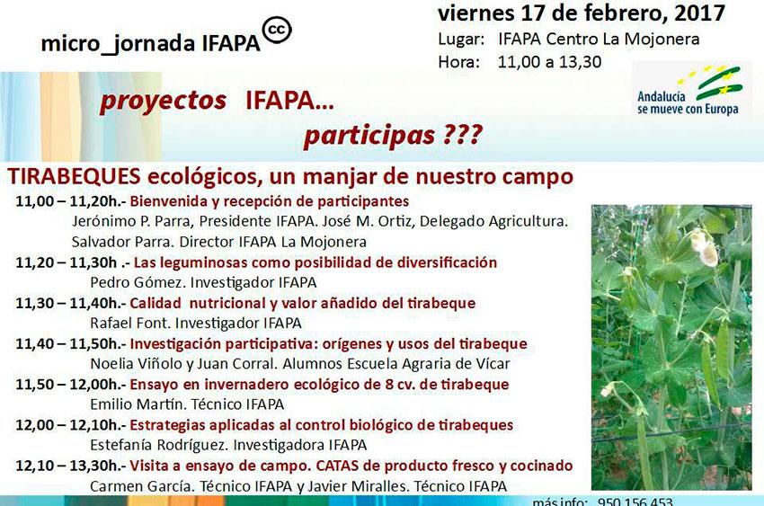Día 17 de febrero. Tirabeques ecológicos, un manjar de nuestro campo. Ifapa La Mojonera