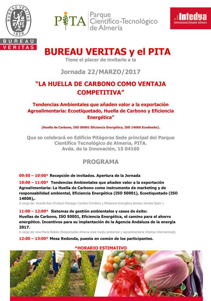 Día 22 de marzo. Jornada 'La huella de carbono como ventaja competitiva'. PITA