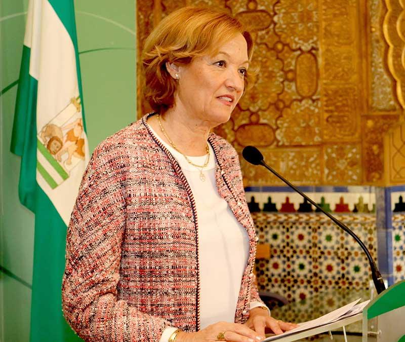 La consejera andaluza de Agricultura en rueda de prensa hoy lunes en Almería.