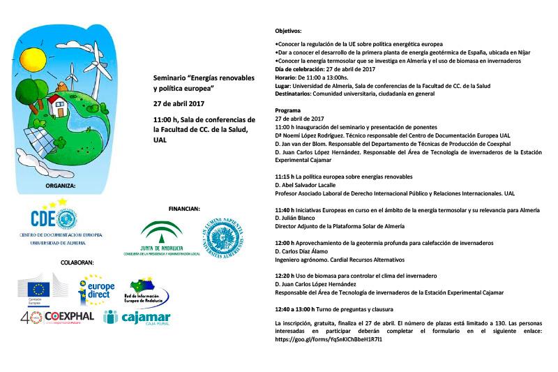 Día 27 de abril. Energías renovables y política europea. Almería