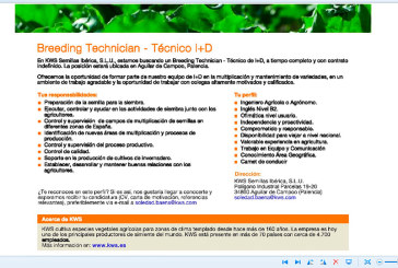 KWS Semillas Ibérica precisa de un Técnico I+D. Palencia