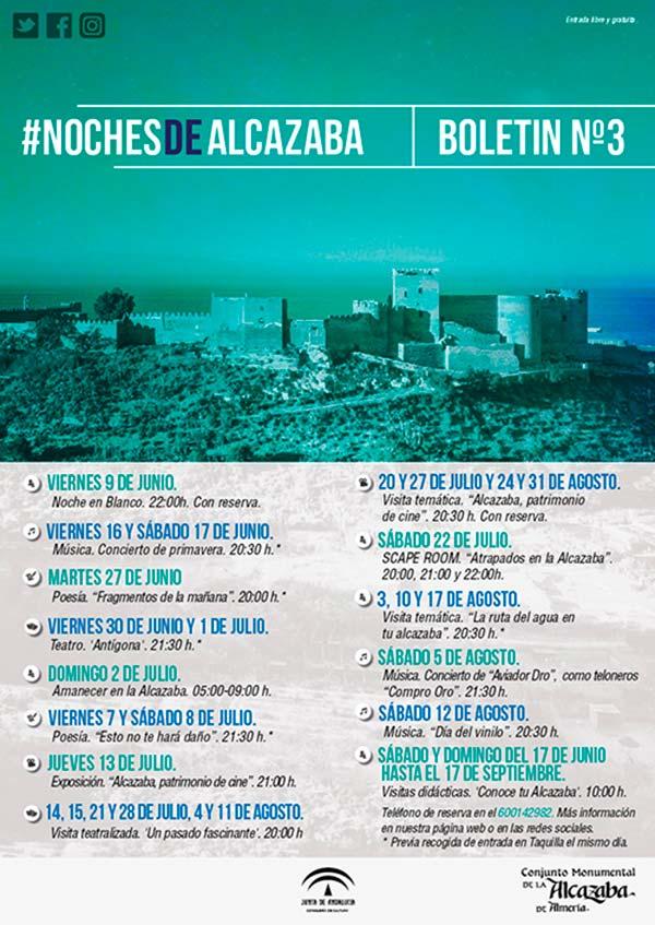 Programación de verano de 2017 de la Alcazaba de Almería.