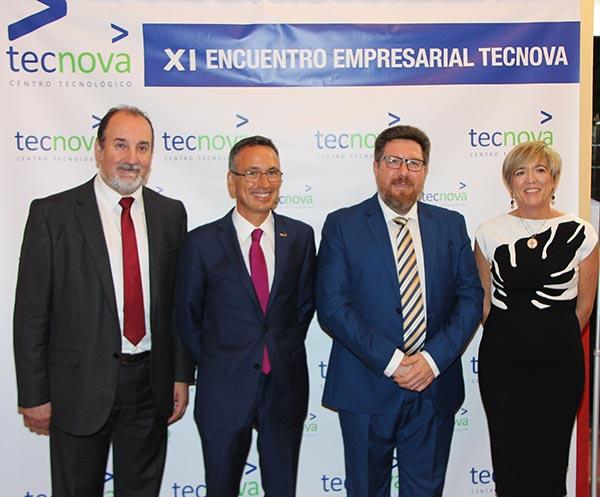 El presidente y la gerente de Tecnova con el delegado de Agricultura y el nuevo consejero del ramo de la Junta de Andalucía.