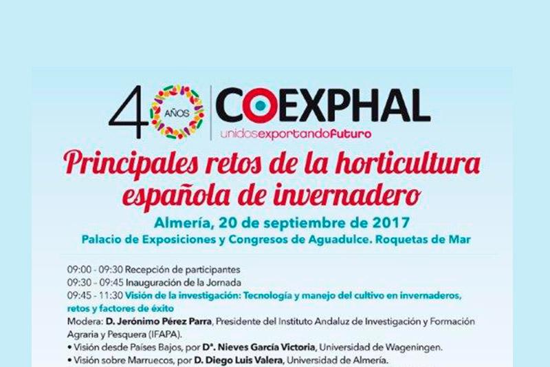 Día 20 de septiembre. Jornada 'Principales retos de la horticultura española de invernadero'