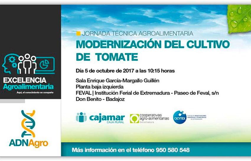 Día 5 de octubre. Jornadas 'Modernización del cultivo de tomate'. Badajoz