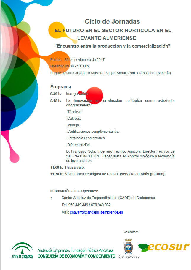 Día 30 de noviembre. Jornadas 'El futuro en el sector hortícola en el Levante Almeriense'
