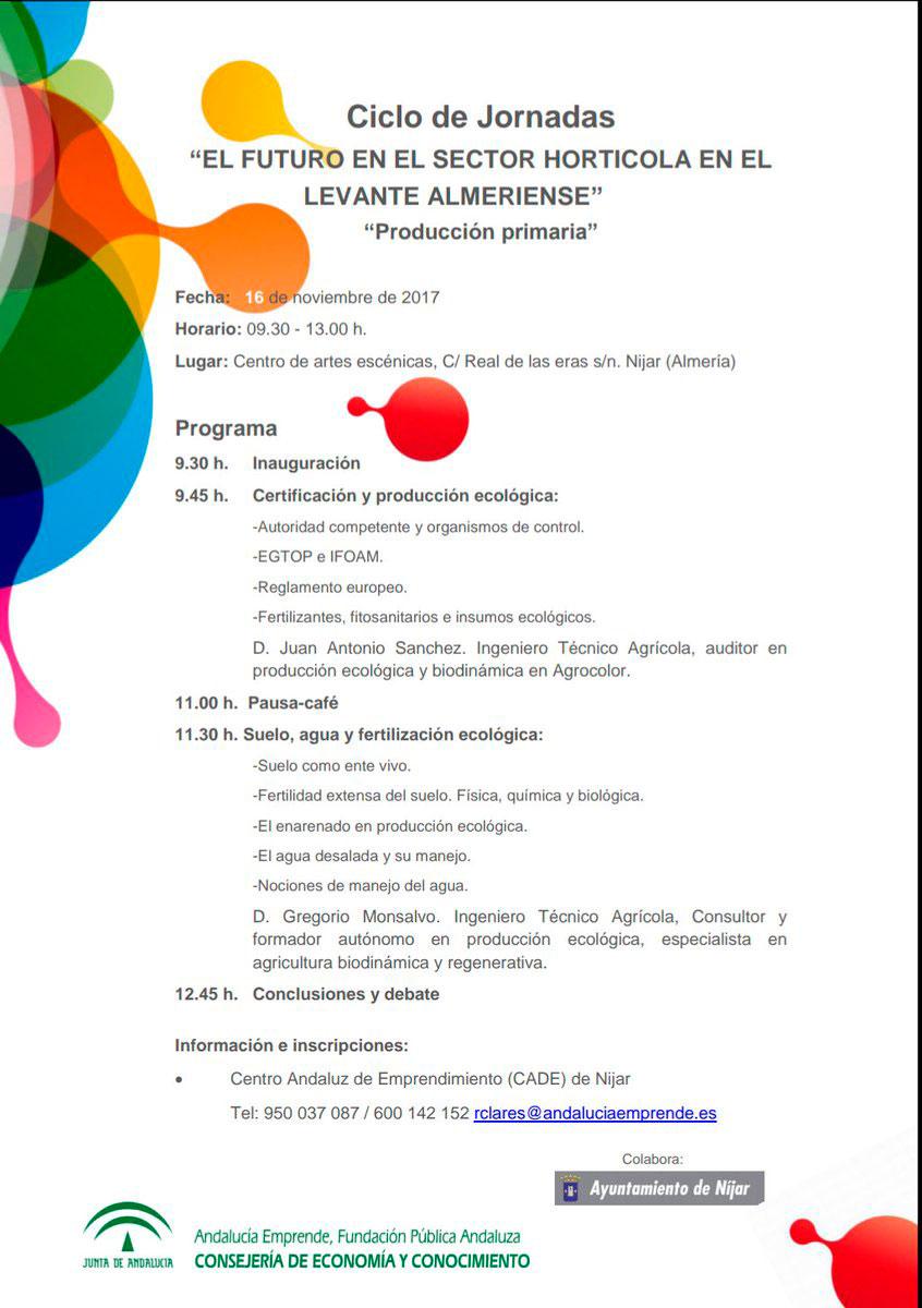 Día 16 de noviembre. Jornadas ' El futuro en el sector hortícola en el Levante Almeriense'