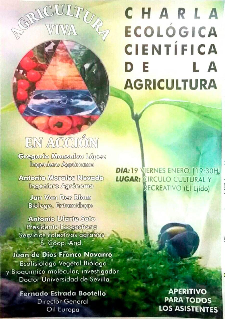 Día 19 de enero. Charla ecológica científica de la agricultura. El Ejido