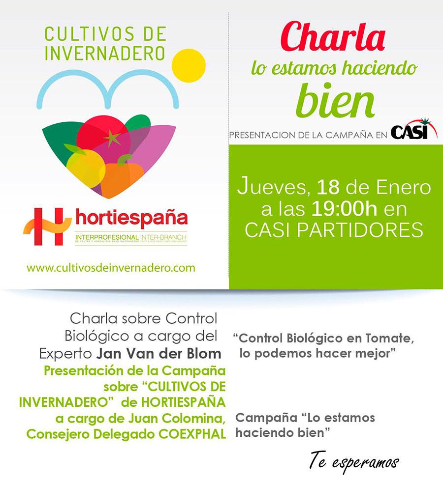Día 18 de enero. Jornada sobre el control biológico en tomate y presentación de campaña de Hortiespaña