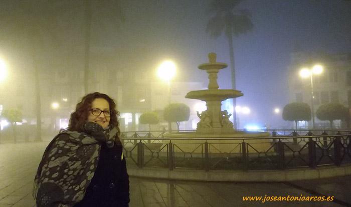 Ana Rubio en la plaza de España de Mérida.