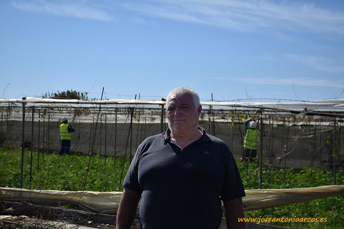 José Ramón Castilla mientras le desmontan el invernadero.