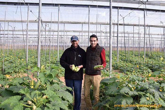 Aziz y Rubén con calabacín blanco.
