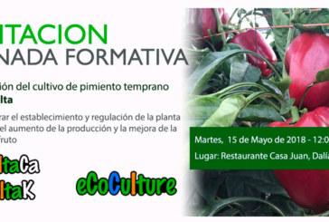 Día 15 de mayo. Jornada formativa sobre optimización del cultivo de pimiento temprano