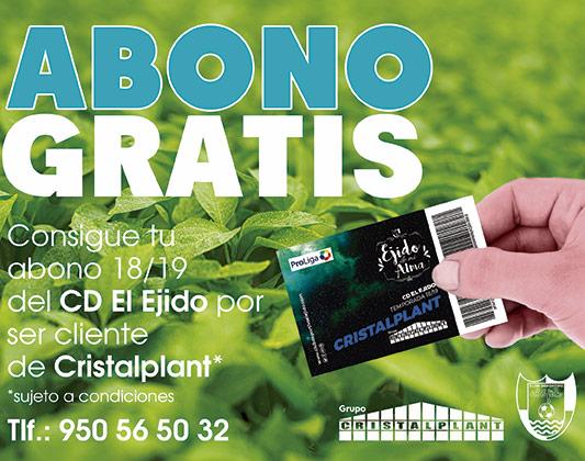 Abono gratis. Grupo Cristalplant patrocinador del CD El Ejido 2012.