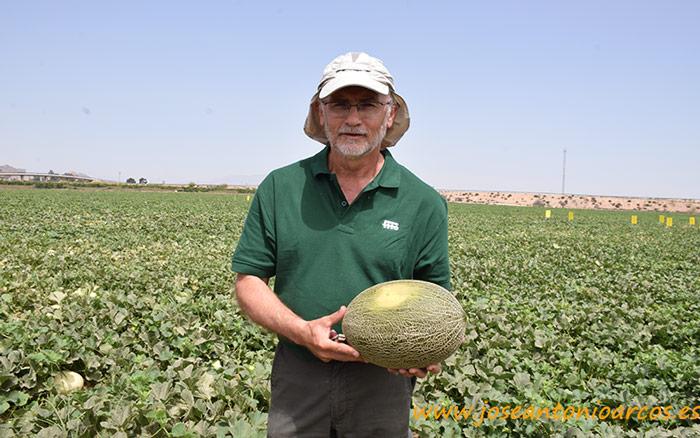 Manolo Fernández con un fruto de Ceferino. Semillas Fitó.