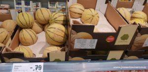 Melón cantaloup en un supermercado de Portugal.