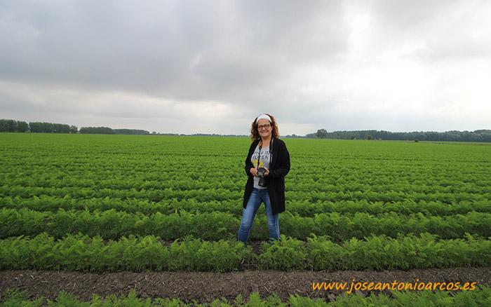 Ana Rubio entre zanahorias en Serbia, a orillas del río Danubio.