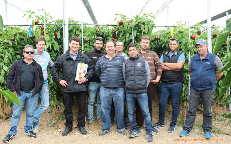 Agricultores de Eurosol con Jorge Viseras en el invernadero de Paco Maldonado.