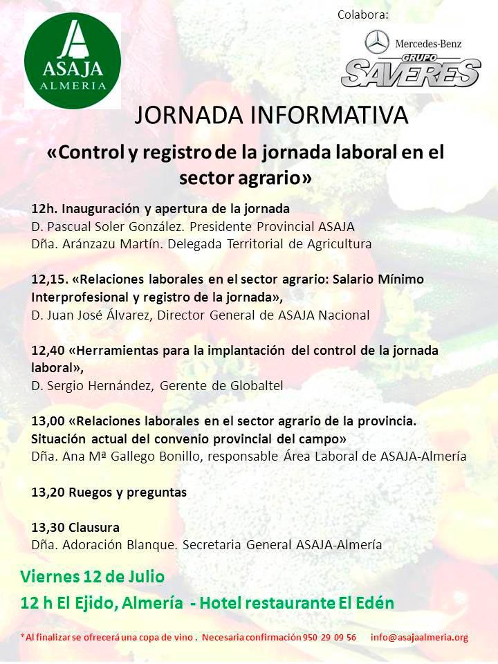 Control y registro de la jornada laboral en el sector agrario