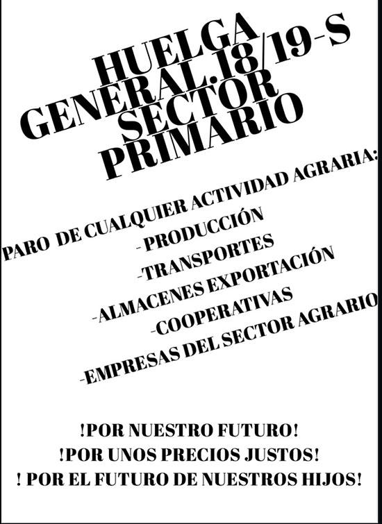 Huelga sector primario 18 y 19 de septiembre. /joseantonioarcos.es