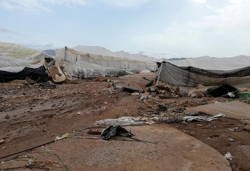 Invernaderos del campo de Níjar afectados por la DANA o gota fría. /joseantonioarcos.es
