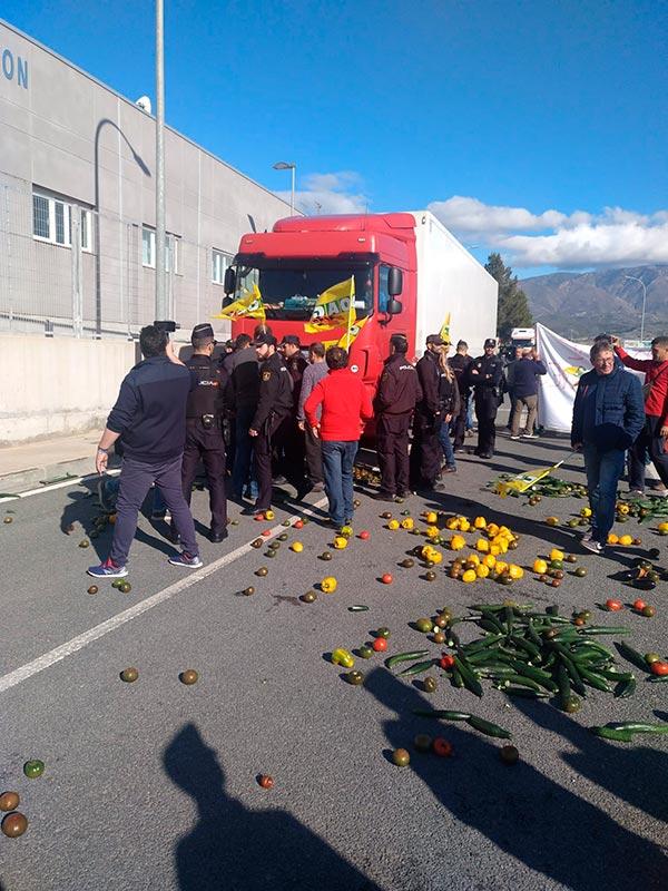 Agricultores convocados por COAG cortan la principal vía de entrada y salida del Puerto de Motril en protesta por las importaciones sin control. /joseantonioarcos.es