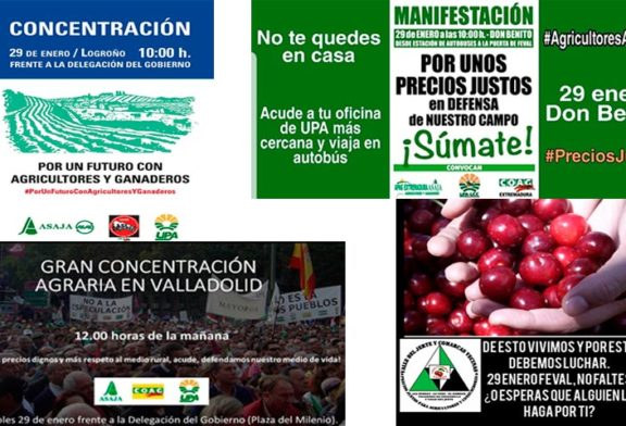Avalancha de manifas agrícolas en toda España